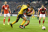 Arsenal midfielder Jeff Reine-Adelaide (31) battles for possession with Nottingham Forest defender Eric Lichaj (2) during the EFL Cup match between Nottingham Forest and Arsenal at the City Ground, Nottingham, England on 20 September 2016. Photo by Jon Hobley.