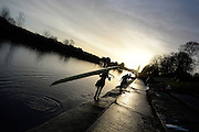 Boston, Great Britain. Crews returning from an early morning paddle before the GB Rowing Team Winter Assessment, Boston Rowing Club, River Witham, Lincolnshire.   Saturday   14/12/2013   [Mandatory Credit. Peter Spurrier/Intersport Images]