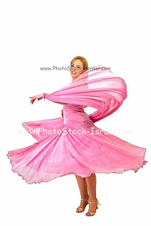 Female salsa dancer On white Background