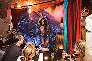 "Burlesque show at ""Velha Senhora"" bar in Lisbon Cais dos Sodré district at Rua Nova do Carvalho."