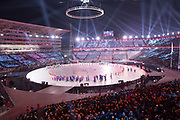 Great Britain Winter Olympic team with flag bearer, Lizzy Yarnold, during the 2018 Winter Olympic Games Opening Ceremony at Pyeongchang Olympic Stadium  on 9th February 2018 in Pyeongchang, South Korea