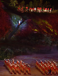 JAKARTA, Aug. 18, 2018  A torchbearer is seen at the opening ceremony of the 18th Asian Games at Gelora Bung Karno (GBK) Main Stadium in Jakarta, Indonesia, Aug. 18, 2018. (Credit Image: © Li He/Xinhua via ZUMA Wire)