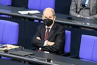 11 FEB 2021, BERLIN/GERMANY:<br /> Olaf Scholz, SPD, Bundesfinanzminister, Debatte nach der  Regierungserklaerung der Bundeskanzlerin zur Bewaeltigung der Corvid-19-Pandemie, Plenum, Reichstagsgebaeude, Deutscher Bundestag<br /> IMAGE: 20210211-01-071<br /> KEYWORDS: Corona, Maske, Mundschutz