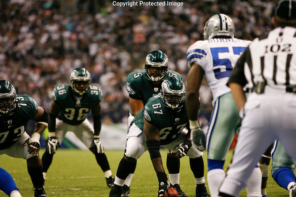 15 Sept 2008: Philadelphia Eagles quarterback Donovan McNabb #5 before a play during the game against the Dallas Cowboys on September 15th, 2008. The Cowboys beat the Eagles 41-37 at Texas Stadium in Irving, Texas.