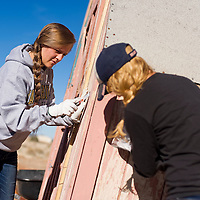 031813       Brian Leddy<br /> Katya Rivers, left, and Ingrid List scrape paint from a shed at the Thoreau Community Center Thursday. The pair are part of a group of students who visited from Principia College in southern Illinois as part of a community service project.
