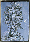 Air', c1600. Tempera on blue paper. Anonymous. Grotesque head and shoulders composed of various birds.