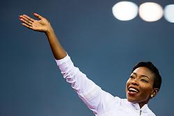 August 30, 2018 - Zurich, SWITZERLAND - 180830 Murielle AhourŽ of the Ivory Coast after winning the women's 100 meter during Weltklasse ZŸrich on August 30, 2018 in Zurich..Photo: Vegard Wivestad GrÂ¿tt / BILDBYRN / kod VG / 170212 (Credit Image: © Vegard Wivestad Gr¯Tt/Bildbyran via ZUMA Press)
