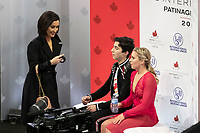 KELOWNA, BC - OCTOBER 26: Canadian figure skaters Marjorie Lajoie and Zachary Lagha await their score for ice dance free dance of Skate Canada International held at Prospera Place on October 26, 2019 in Kelowna, Canada. (Photo by Marissa Baecker/Shoot the Breeze)