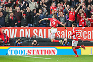 GOAL 1-0. Charlton Athletic midfielder Krystian Bielik (4) celebrates after scoring a goal during the EFL Sky Bet League 1 second leg Play-Off match between Charlton Athletic and Doncaster Rovers at The Valley, London, England on 17 May 2019.