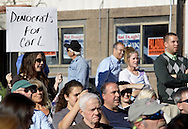 Middletown, New York - A woman holds up a sign during a forum with Republican gubernatorial candidate Carl Paladino hosted by the Orange/Sullivan County 912 Tea Party in the parking lot outside party headquarters on Oct. 9, 2010.