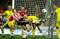 Photograph: Scott Heavey.<br />Southampton v Charlton Athletic. FA Barclaycard Premiership. 07/12/2003.<br />Michael Svensson and Jonathan Fortune in front of the Cahrlton goal