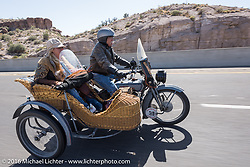 Dawn and Doc Hopkins of Doc's Harley-Davidson in Wisconsin riding their 1915 Harley-Davidson and wicker sidecar during the Motorcycle Cannonball Race of the Century. Stage-13 ride from Williams, AZ to Lake Havasu CIty, AZ. USA. Friday September 23, 2016. Photography ©2016 Michael Lichter.