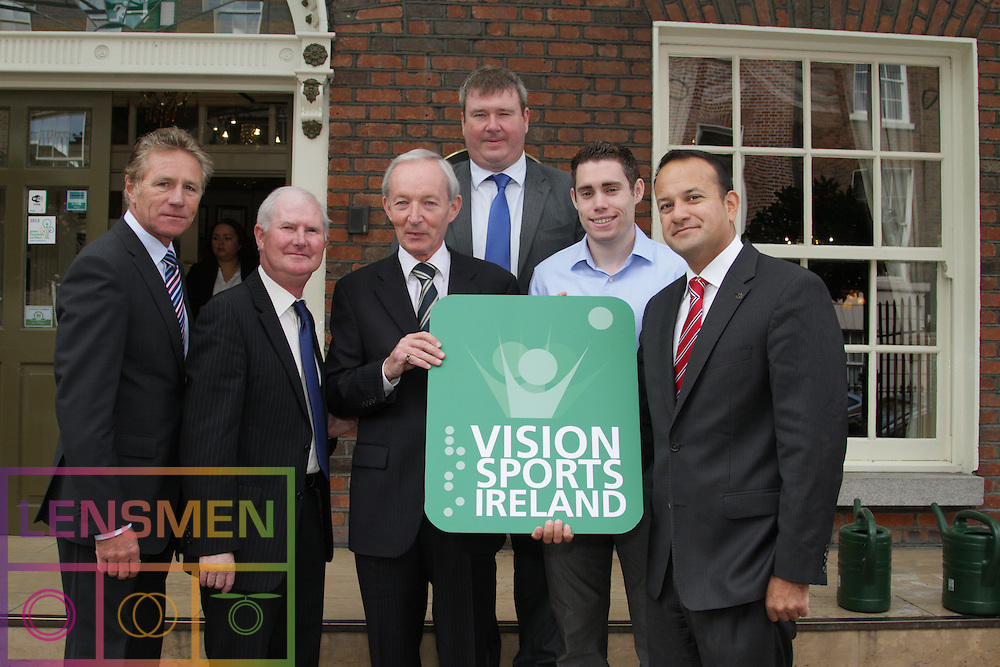 """PRESS RELEASE <br />Jason Smyth and Minister Leo Varadkar launch Vision Sports Ireland.  <br />Thursday, 19 September, Dublin.<br />Four time Paralympic gold medallist and World Champion, Jason Smyth, and Minister for Transport, Tourism & Sport, Leo Varadkar, today launched Vision Sports Ireland at a reception in central Dublin. Formerly Irish Blind Sports, the organisation has been renamed and rebranded to mark its 25th anniversary and to reflect the needs of its members. <br /><br />Pictured at the  launched Vision Sports Ireland at a reception in central Dublin. Formerly Irish Blind Sports, the organisation has been renamed and rebranded to mark its 25th anniversary and to reflect the needs of its members.<br /> Were life to right.<br /> Senator Eamonn Coghlan.<br />Michael Clark, Vision Sports Ireland.<br />Robert Dobbyn, Chairperson Vision Sports Ireland.<br />Martin Conway, Clare Senator and Seanad Spokesperson on Disability, <br />Jason Smyth, Paralympic Double Gold Sprinter.<br />Minister Leo Varadkar.<br /> Speaking at the opening Minister Varadkar said: """"This is the start of a new era for vision impaired sports people in Ireland and I congratulate Vision Sports Ireland for reaching out to the community. Sport can, and should, be open to everyone, and I know that this organisation is striving to provide access to activities right across the country. The Government continues to support this area and awarded €36,000 to Vision Sports Ireland through the Sports Council this year, in addition to support for elite athletes through Paralympics Ireland.""""<br />Vision Sports Ireland assists vision impaired people in Ireland, of all ages, to access sports at all levels, from leisure to elite, in their own communities where possible. The Organisation offers a range of sports, including tandem cycling, football, swimming, golf and athletics and hosts, both,  national and international competitions. <br />Senator Eamonn Coghlan, a valued supporter of Vision Sports Irelan"""