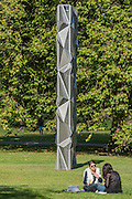 Conrad Shawcross, Monolith (optic), 2016, Victoria Miro gallery - The Frieze Sculpture Park 2016 comprises 19 large-scale works, set in the English Gardens between Frieze Masters and Frieze London. Selected by Clare Lilley (Yorkshire Sculpture Park), the Frieze Sculpture Park will feature 19 major artists including Conrad Shawcross, Claus Oldenburg, Nairy Baghramian,Ed Herring, Goshka Macuga and Lynn Chadwick. The installations will remain on view until 8 January 2017.