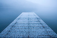 Snow covered dock on Fallen Leaf Lake. Lake Tahoe, CA