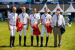 Team BEL, Guery Jerome, Bruynseels Niels, Vanderhasselt Yves, Devos Pieter, Weinberg Peter<br /> CSIO La Baule 2021<br /> © Hippo Foto - Dirk Caremans<br />  11/06/2021