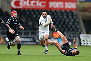 Lelia Masaga of Glasgow Warriors (c)  breaks free of his Ospreys tacklers to run in and set up a 2nd half try for teammate George Horne.  Guinness Pro14 rugby match, Ospreys v Glasgow Warriors Rugby at the Liberty Stadium in Swansea, South Wales on Sunday 26th November 2017. <br /> pic by Andrew Orchard, Andrew Orchard sports photography.