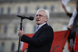 © Licensed to London News Pictures.01/05/2017. London, UK. Labour Party Shadow Chancellor John McDonnell addresses activists attending the May Day march in Trafalgar Square on May 1, 2017. Photo credit: Tom Nicholson/LNP