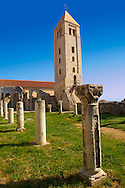 The Romanesque Bell Tower  and medieval pillars of the church of St John The Evengelist.  Rab Island, Craotia .<br /> <br /> Visit our MEDIEVAL PHOTO COLLECTIONS for more   photos  to download or buy as prints https://funkystock.photoshelter.com/gallery-collection/Medieval-Middle-Ages-Historic-Places-Arcaeological-Sites-Pictures-Images-of/C0000B5ZA54_WD0s