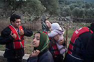 A group of migrants and refugees after just arriving on the Greek island of Lesvos, after being smuggled from Turkey.