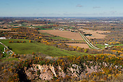 Aerial view of Abelman's Gorge (below), near Rock Springs, Wisconsin, in Sauk County's Baraboo Hills, with Reedsburg in the distance.