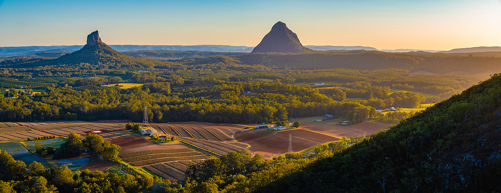 Panoramic view of Mt Coonowrin (l) & Mt Beerwah from Mt Coochin, Glass House Mountains, Sunshine Coast, Queensland, Australia