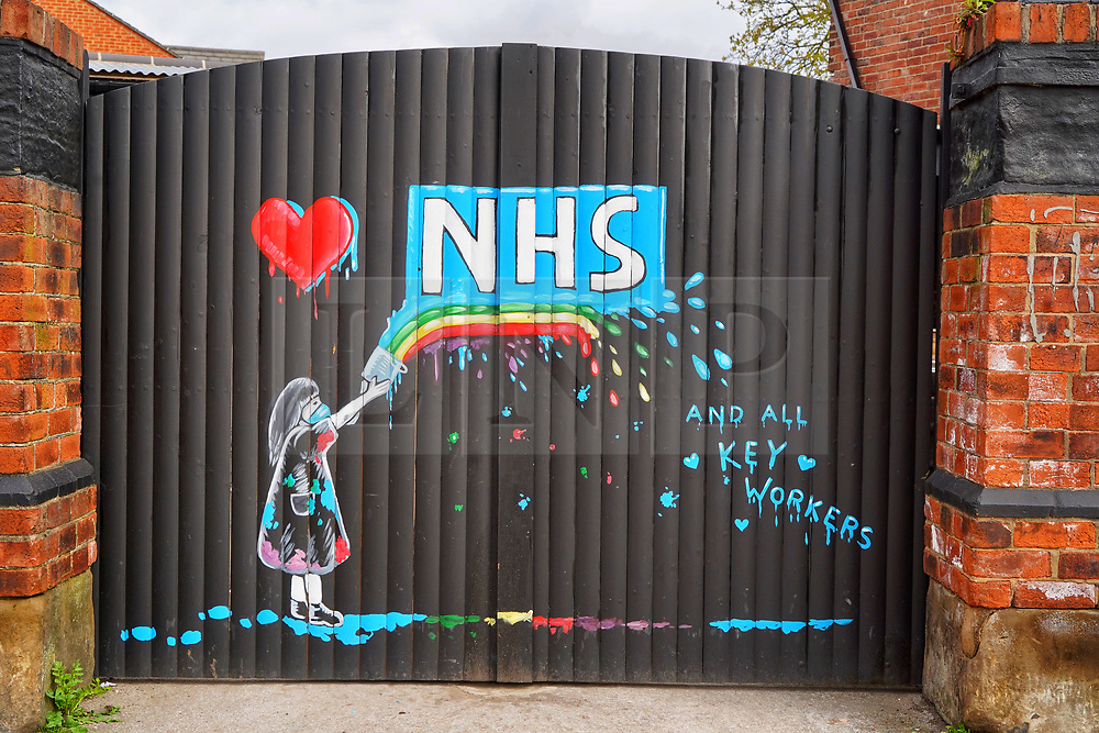 © Licensed to London News Pictures. 03/04/20. Pontefract, UK. A new mural by local artist Rachel List has been painted in support of the NHS near the Hope and Anchor pub in Pontefract, West Yorkshire. Photo credit: Scott Merrylees/LNP