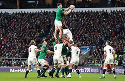 Ireland's Peter O'Mahony (centre) wins the ball in the lineout during the NatWest 6 Nations match at Twickenham Stadium, London.
