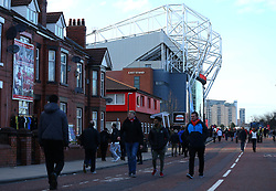 Old Trafford rises above the local houses as fans begin to arrive for the UEFA Champions League Round of 16 match against Sevilla - Mandatory by-line: Robbie Stephenson/JMP - 13/03/2018 - FOOTBALL - Old Trafford - Manchester, England - Manchester United v Sevilla - UEFA Champions League Round of 16 2nd Leg