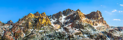 """""""Sierra Buttes 1"""" - Stitched panoramic photograph of the Sierra Buttes mountain range, shot just before sunset."""