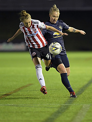 February 20, 2019 - Sheffield, United Kingdom - As Sheffield United's Jade Pennock stumbles, Manchester United's Leah Galton wins possession of the ball during the  FA Women's Championship football match between Sheffield United Women and Manchester United Women at the Olympic Legacy Stadium, on February 20th Sheffield, England. (Credit Image: © Action Foto Sport/NurPhoto via ZUMA Press)