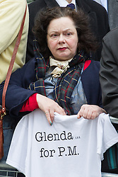 "© Licensed to London News Pictures . 17/04/2013 . London , UK . A woman with a t-shirt reading "" Glenda for PM "" at Ludgate Circus . The funeral of former British Conservative Prime Minister , Baroness Margaret Thatcher , today (Wednesday 17th April 2013) in Central London . Baroness Thatcher died from a stroke at the age of 87 . Photo credit : Joel Goodman/LNP"