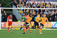Medy Elito of Newport county celebrates  (c) after he scores his teams 1st goal to make it 1-1. Skybet football league two match, Newport county v Oxford Utd at Rodney Parade in Newport, South Wales on Tuesday 19th April 2016.<br /> pic by Andrew Orchard, Andrew Orchard sports photography.