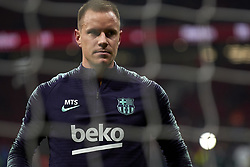 November 24, 2018 - Madrid, Madrid, Spain - ter Stegen of Barcelona during the warm-up before the week 13 of La Liga match between Atletico Madrid and FC Barcelona at Wanda Metropolitano Stadium in Valencia, Spain on November 24, 2018. (Credit Image: © Jose Breton/NurPhoto via ZUMA Press)