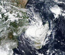 March 11, 2019 - Mozambique - Suomi NPP VIIRS image of Cyclone Idai. Tropical cyclone Idai cut a swathe through Mozambique, Zimbabwe and Malawi, the confirmed death toll stood at more than 300 and hundreds of thousands of lives were at risk. (Credit Image: © NASA Earth/ZUMA Wire/ZUMAPRESS.com)