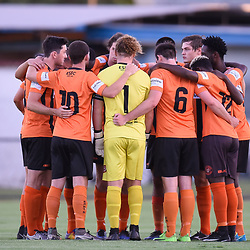 BRISBANE, AUSTRALIA - JANUARY 8: Eastern Suburbs players gather before the Kappa Silver Boot Group A match between Brisbane Strikers and Eastern Suburbs on January 8, 2017 in Brisbane, Australia. (Photo by Patrick Kearney)