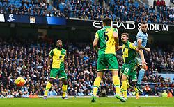 Nicolas Otamendi of Manchester City fires a header towards goal - Mandatory byline: Matt McNulty/JMP - 07966 386802 - 31/10/2015 - FOOTBALL - City of Manchester Stadium - Manchester, England - Manchester City v Norwich City - Barclays Premier League