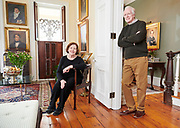Sarah and Allen Burke and their early American portraits in their West Chester, Pa home. Photograph by Jim Graham