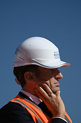 French President Emmanuel Macron visits the construction site of the 2024 Olympic Games Village in Saint-Ouen on the outskirts of Paris, France on October 14, 2021, part of a visit to construction sites dedicated to the Paris 2024 Olympic and Paralympic Games. Photo by Eliot Blondet/ABACAPRESS.COM