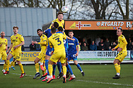 Lots of bodies trying to head the ball from a corner during the EFL Sky Bet League 1 match between AFC Wimbledon and Fleetwood Town at the Cherry Red Records Stadium, Kingston, England on 8 February 2020.