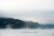 Aiguebelette, FRANCE,   RUS M8+. training on the Lac d'Aiguebelette. in misty conditions  2015 FISA World Rowing Championships, Venue, Lake Aiguebelette - Savoie. <br /> <br /> Sunday  06/09/2015  [Mandatory Credit. Peter SPURRIER/Intersport Images]. © Peter SPURRIER, Atmospheric, Rowing