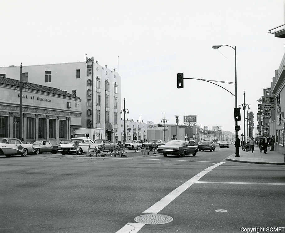 1967 Looking south on Highland Ave. from Hollywood Blvd.