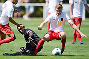 Canterbury United's Cory Mitchell survives a tackle attempt in the Handa Premiership football match, Hawke's Bay United v Canterbury United, Bluewater Stadium, Napier, Sunday, February 09, 2020. Copyright photo: Kerry Marshall / www.photosport.nz
