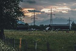 THEMENBILD - Kühe grasen auf einer Weide mit Strommasten und Stromleitungen, aufgenommen am 20. Mai 2020 in Kaprun, Oesterreich // Cows grazing in a pasture with power poles and power lines in Kaprun, Austria on 2020/05/20. EXPA Pictures © 2020, PhotoCredit: EXPA/ JFK