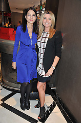 Left to right, YASMIN MILLS and TINA HOBLEY at a lunch to launch Cash & Rocket on Tour 2013 hosted by Julia Brangstrup in aid of Orpan Aid and Shine on Sierrra Leone held at Banca, 40 North Audley Street, London on 29th April 2013.