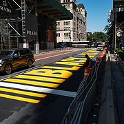 Manhattan streets remain sparse to both visitors and traffic during the Phase 4 reopening on Monday, August 3, 2020 in New York, New York. Mayor de Blasio is asking travelers from 34 states and Puerto Rico, where COVID-19 infection rates are high, to quarantine for 14 days after arriving in the city.  (Alex Menendez via AP)