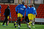Darnell Johnson of AFC Wimbledon warming up during the EFL Sky Bet League 1 match between Doncaster Rovers and AFC Wimbledon at the Keepmoat Stadium, Doncaster, England on 26 January 2021.