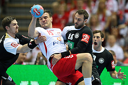 07.06.2014, Ergo Arena, Danzig, POL, IHF WM Qualifikation, Polen vs Deutschland, im Bild Niemcy, Michal Jurecki (POL), Michael Allendorf (GER), Tim Kneule (GER) // during the IHF world championship qualification match between Poland and Germany at the Ergo Arena in Danzig, Poland on 2014/06/07. EXPA Pictures © 2014, PhotoCredit: EXPA/ Newspix/ Tomasz Jastrzebowski<br /> <br /> *****ATTENTION - for AUT, SLO, CRO, SRB, BIH, MAZ, TUR, SUI, SWE only*****