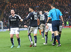 Dundee's Paul McGowan after Dundee's Nick Ross cele scoring their second goal. <br /> Dundee 2 v 1  Dundee United, SPFL Ladbrokes Premiership game played 2/1/2016 at Dens Park.