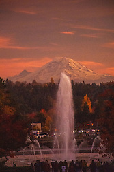 Drumheller Fountain and Mt. Rainier from the Campus of the University of Washington, Seattle, Washington, US